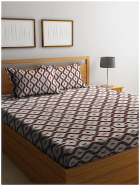 Cortina Cotton Printed Double Bedsheet ( 1 Bedsheet with 2 Pillow Covers , Brown )