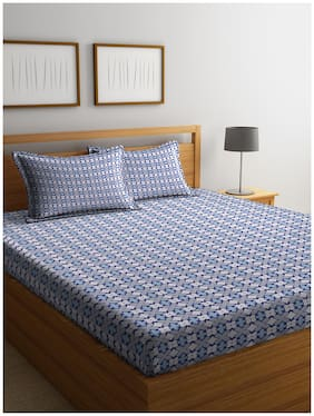 Cortina Cotton Printed Double Bedsheet ( 1 Bedsheet with 2 Pillow Covers , Multi )