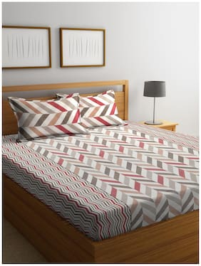 Cortina Cotton Floral Queen Size Bedsheet 104 TC ( 1 Bedsheet With 2 Pillow Covers , Multi )