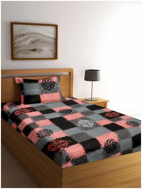 Cortina Microfibre Floral Single Size Bedsheet 104 TC ( 1 Bedsheet With 2 Pillow Covers , Multi )