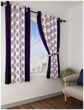 Cortina Polyester Window Semi Transparent Purple & White Regular Curtain ( Eyelet Closure , Floral )