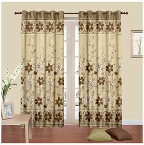 Cortina New Bbd Cream And Brown Curtain 7 X 4 Feet - Set Of 2