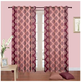 Cortina New Bbd Maroon Curtain 5 X 4 Feet - Set Of 2