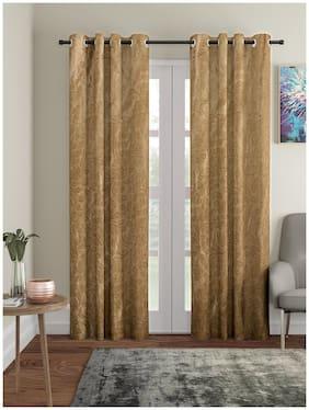 Cortina Polyester Long Door Semi Transparent Brown Regular Curtain ( Eyelet Closure , Printed , Pack of 2 )