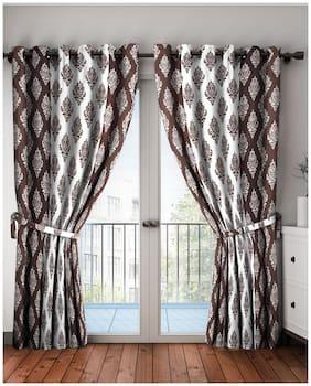 Cortina Polyester Door Semi Transparent Brown & White Regular Curtain ( Eyelet Closure , Floral )