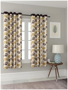 Cortina Polyester Floral Brown Window Curtains for Bedroom-Group-006