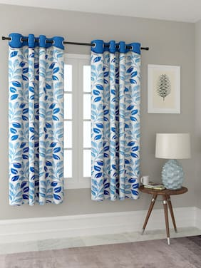 Cortina Polyester Window Blackout Blue Regular Curtain ( Eyelet Closure , Floral )