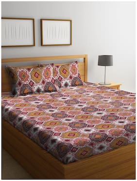 Cortina Cotton Geometric Queen Bedsheet ( 1 Bedsheet With 2 Pillow Covers , Brown )