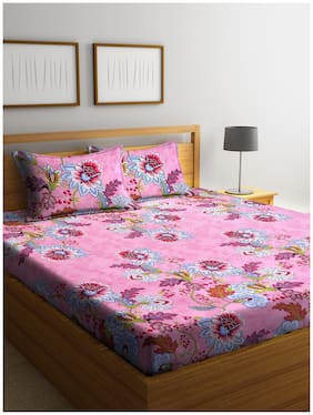 Cortina Cotton Floral Queen Size Bedsheet 104 TC ( 1 Bedsheet With 2 Pillow Covers , Pink )
