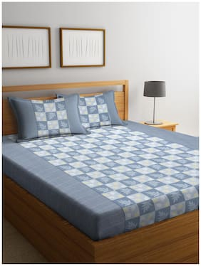 Cortina Cotton Floral Queen Size Bedsheet 104 TC ( 1 Bedsheet With 2 Pillow Covers , Grey )