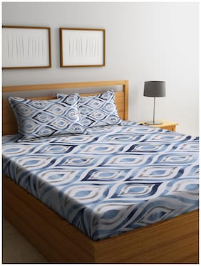 Cortina Cotton Geometric Queen Size Bedsheet 104 TC ( 1 Bedsheet With 2 Pillow Covers , Blue )