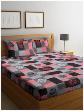 Cortina Cotton Checkered Queen Size Bedsheet 104 TC ( 1 Bedsheet With 2 Pillow Covers , Multi )