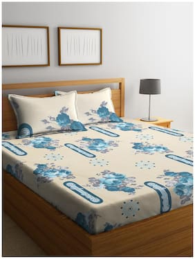 Cortina Cotton Floral Queen Size Bedsheet 104 TC ( 1 Bedsheet With 2 Pillow Covers , Beige )