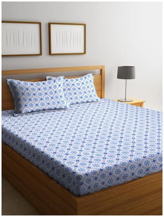 Cortina Cotton Floral Queen Size Bedsheet 104 TC ( 1 Bedsheet With 2 Pillow Covers , Blue )