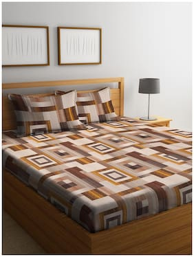 Cortina Cotton Checkered Queen Size Bedsheet 104 TC ( 1 Bedsheet With 2 Pillow Covers , Brown )