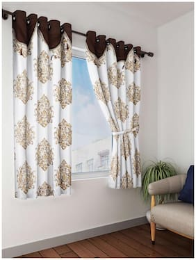 Cortina Polyester Window Semi Transparent Brown Regular Curtain ( Eyelet Closure , Solid )