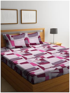 Cortina Cotton Geometric Queen Size Bedsheet 104 TC ( 1 Bedsheet With 2 Pillow Covers , Pink )