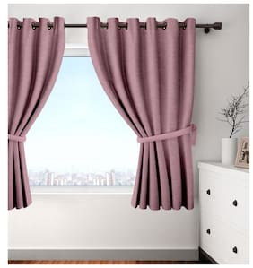 Cortina Set Of 2 Window Eyelet Curtains Solid Purple