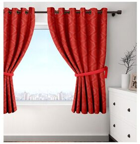 Cortina Set Of 2 Window Eyelet Curtains Solid Red