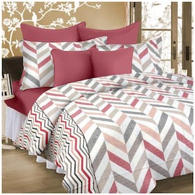 Cortina Cotton Paisley Double Size Bedsheet 104 TC ( 1 Bedsheet With 2 Pillow Covers , Multi )