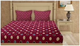Cortina Cotton Floral Double Size Bedsheet 104 TC ( 1 Bedsheet With 2 Pillow Covers , Multi )