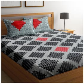 Cortina Cotton Checkered Double Size Bedsheet 104 TC ( 1 Bedsheet With 2 Pillow Covers , Multi )