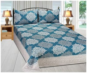Fresh From Loom Cotton Abstract Double Size Bedsheet ( 1 Bedsheet With 2 Pillow Covers , Blue )