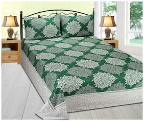 Cotton Reversable Double Bedsheet Green color Size 90x100 By Fresh From Loom