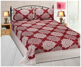 Fresh From Loom Cotton Abstract Double Size Bedsheet ( 1 Bedsheet With 2 Pillow Covers , Red )