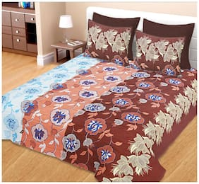 Spangle Cotton Printed King Size Bedsheet 144 TC ( 1 Bedsheet With 2 Pillow Covers , Brown )