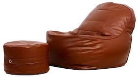 Couchette Lounge Chair Luxury Bean Bag Cover With Footrest;Without Beans