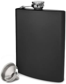 Country Essentials Matt Black Finish Stainless Steel Liquor Flasks Or Alcoholic Beverage Holder Hip Flask With Funnel - 8 Oz or 230 Ml