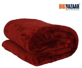 Cozy Living Mink Solid Maroon Single Blanket 1 PC