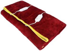 COZYLAND Polyester Solid Double Size Electric Blanket Red