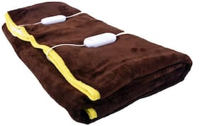 COZYLAND Polyester Solid Double Size Electric Blanket Brown