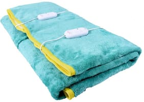COZYLAND Poly Cotton Solid Double Size Electric Blanket Blue
