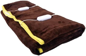 COZYLAND Poly Cotton Solid Double Size Electric Blanket Brown
