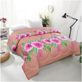 COZYLAND Cotton 3d printed Double Size Comforter Peach