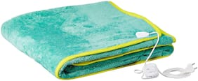 COZYLAND Polyester Solid Single Size Electric Blanket Green