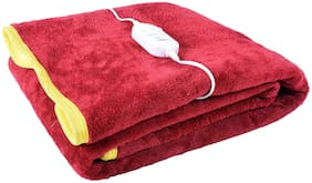 COZYLAND Polyester Solid Single Size Electric Blanket Red