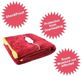 COZYLAND Poly cotton Solid Single Size Electric Blanket Maroon