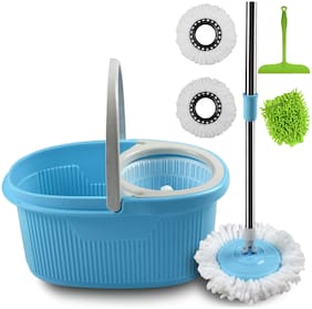 Cozylife by Smile Mom, Magic Spin Mop with Bucket Set Offer with Easy Wheels for Best 360 Degree Floor Cleaning, 2 Refill Head, Free Microfiber Glove + Kitchen Wiper