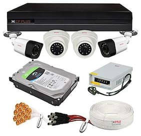 CP Plus 2.4MP 4 Camera Combo Set with 4Ch DVR;2 Dome 2 Bullet Cameras;1TB HDD;Power Supply;90Mtr Cable;Audio Mic and Connectors