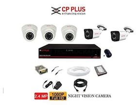 CP Plus 3 Dome 2 Bullet;8 Channel DVR and Power Supply;1 TB Hard Disk;and Adapter with Mouse;BNC;DC;HDMI 90 m Wire Bundle;2.4 MP