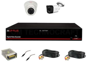 CP Plus Astra HD 4 Channel DVR with 2.4 MP 1 Dome & 1 Bullet Cameras + 2 Bundle 18 Mtr + 4 CH Power Supply & DC Full Combo Kit