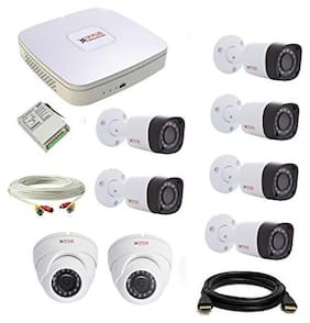 Cp Plus Set Of 2+6 Dome And Bullet Cctv Camera With 8 Ch Dvr Along With Accessories.