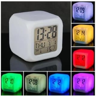 Glowing Cube 7 Color Changing LED Digital Alarm Clock
