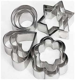 CPEX Stainless Steel Biscuits Bread Cookies decoration Cutter With 4 Shape 12 Pieces