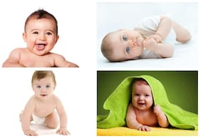 Craft Qila Set of 4 Cute Baby Posters Combo | Smiling Baby Poster | Poster for Pregnant Women | HD Baby Wall Poster for Room Decor GI04 (45 cm x 30 cm) Pack of 4