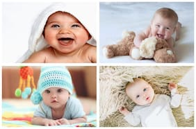 Craft Qila Set of 4 Cute Baby Posters Combo | Smiling Baby Poster | Poster for Pregnant Women | HD Baby Wall Poster for Room Decor GI60 (45 cm x 30 cm) Pack of 4